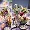 Decoración con centros de mesa de diferentes alturas y estilos. Foto Jen Lynne Photography