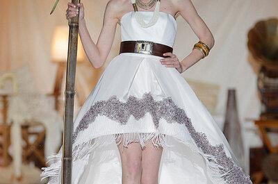 Trendige Brautkleider mit farbigen Taillenbändern