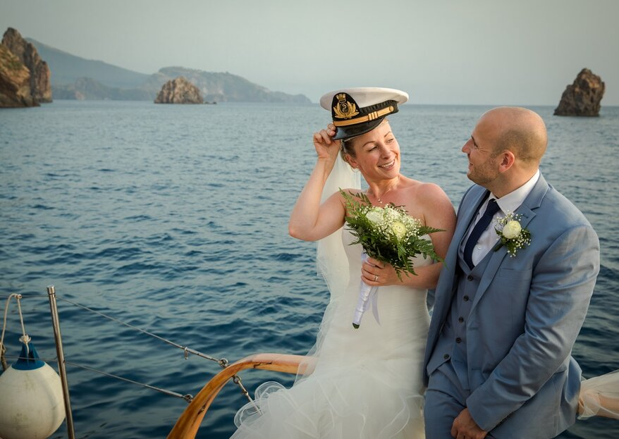 A Wedding On A Boat in Paradise Island, Lipari captured by Luigi Licata Photography