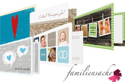 Gewinnspiel: Finden Sie die passende Hochzeitskarte für Ihr Fest und gewinnen Sie Gutscheine bis zu 200 Euro von Familiensache.com