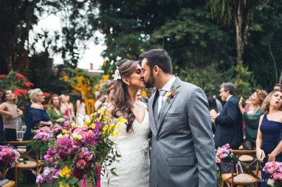 Casamento boho chic de Beatriz e Vitor: romântico, elegante e com o noivo como atração musical da festa!