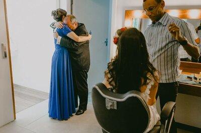 Fotografias da reação dos pais e mães ao ver a filha de noiva: a mais bela e pura emoção!