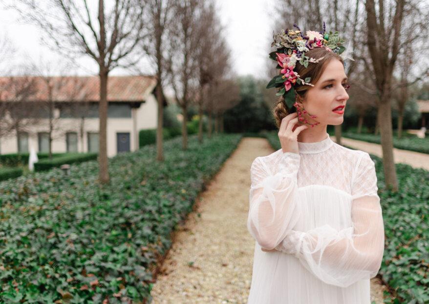 Novias con pinceladas de color: cinco estilismos para cinco novias