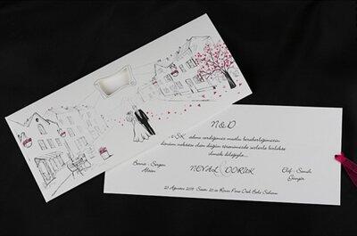 Cuando el color y la elegancia se unen tienen como resultado preciosas invitaciones de boda