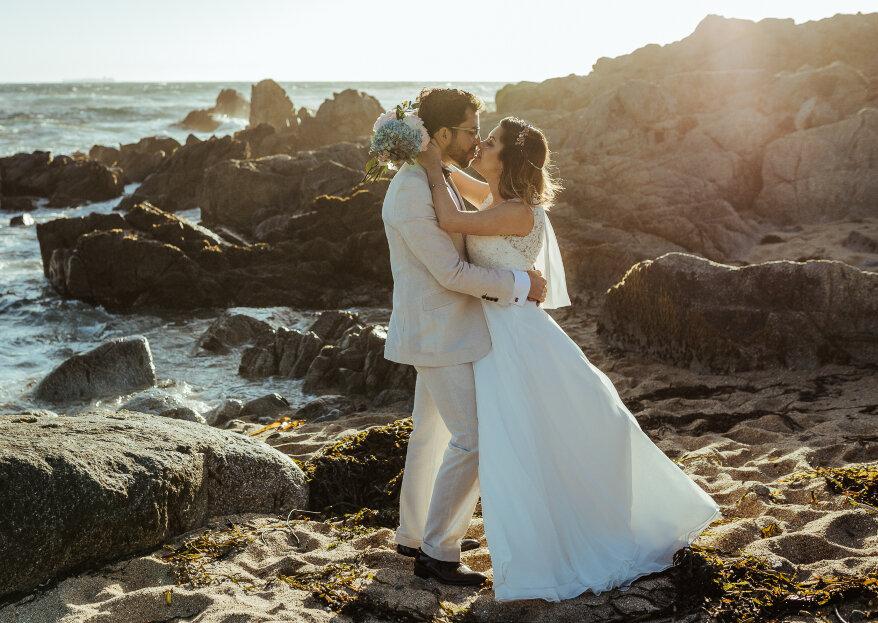 Viviana y Cristóbal, un romántico matrimonio junto al mar