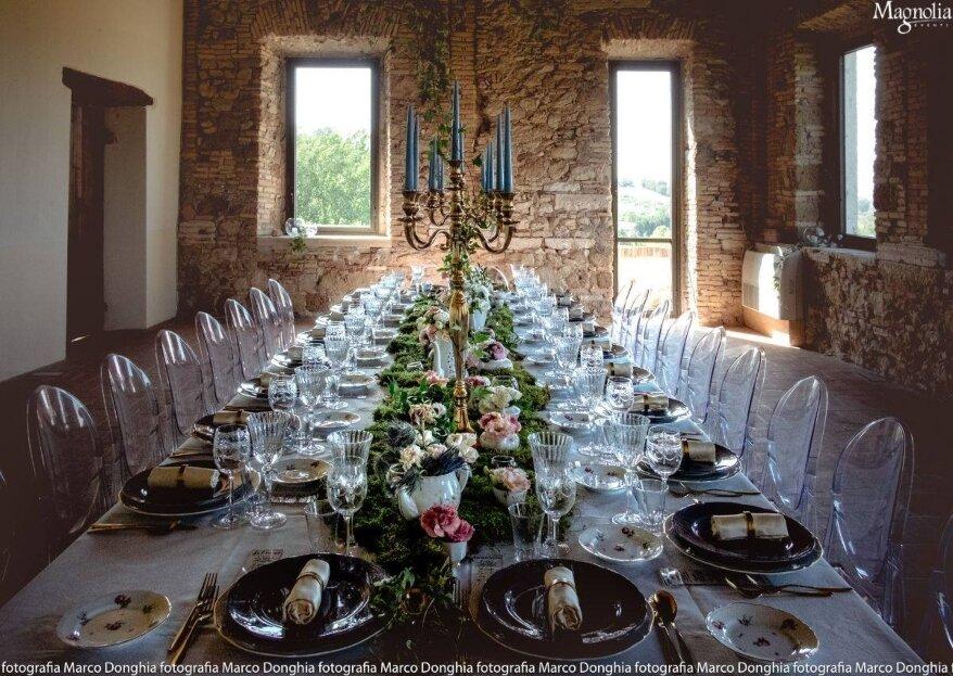 Pietanze gustose e decorazione elegante: ecco il giusto mix per un matrimonio d'effetto con Magnolia Eventi