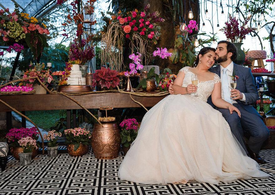 Taynara e Cláudio: decoração assinada pela decoradora Samantha Maia e uma vista incrível para o Pão de Açúcar marcam o grande dia
