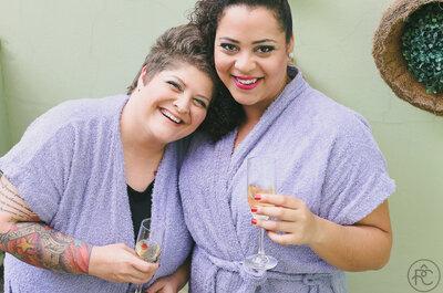 Juliane e Kalinca: Casamento com decoração rústica no interior de São Paulo