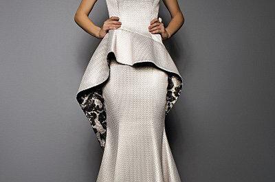 Vestidos de novia 2015 con peplum: La tendencia favorita de las novias ¡por fin regresa!