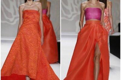 Vestidos de fiesta color naranjo Monique Lhuillier 2014