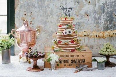 Торт для зимней свадьбы в стиле рустик
