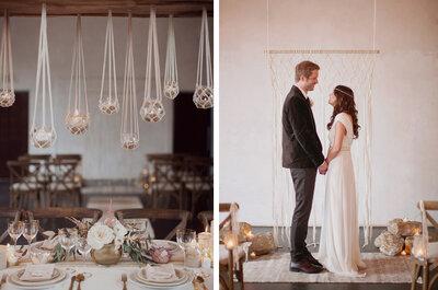Macramé y colores tierra en una Real Wedding con tintes bohemios y muy chic... ¡La amarás!