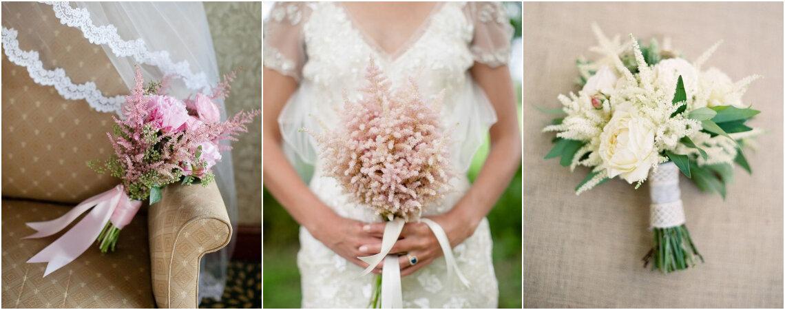 Ramos de novia con astilbe: composiciones románticas y naturales para enamorar