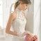 Длинное свадебное платье с американской проймой и кружевом