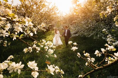 Весенняя свадьба в цветущем яблоневом саду!