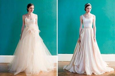 Brautkleider in den Farben Creme und Champagner für eine Hochzeit im Herbst