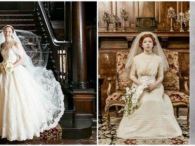 ¡Viaje a través del tiempo! La novia luce los vestidos de novia de sus tres generaciones pasadas