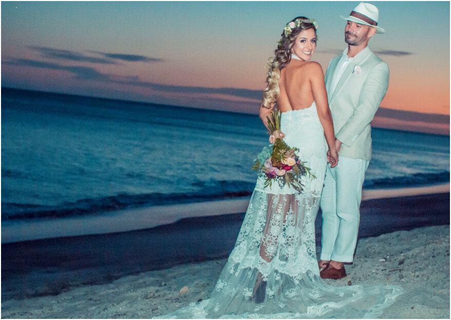 072695c9c Cómo elegir el vestido de novia para una boda en la playa. ¡Los 5 ...