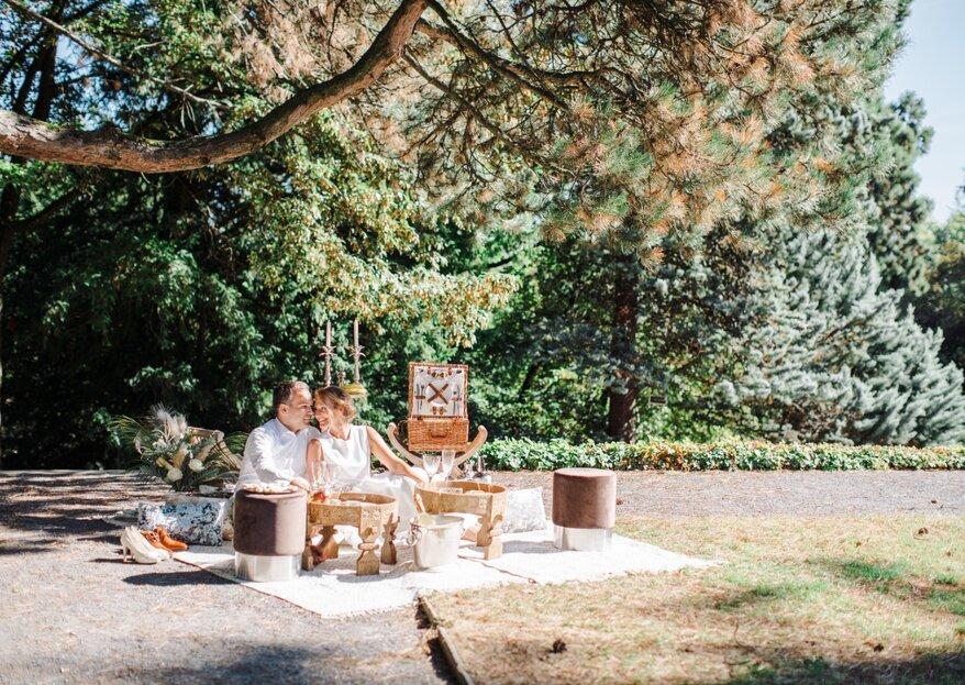 Ein luxuriöses Picknick im Park – der perfekte Ort für einen Heiratsantrag!