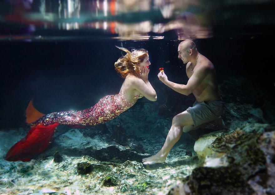 Peticiones de boda bonitas bajo el agua, ¡como toda una sirena!