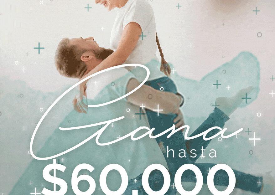 Participa y gana ¡hasta $60,000 para tu boda con nuestro Sorteo! Queremos ayudarte a celebrar tu gran día…