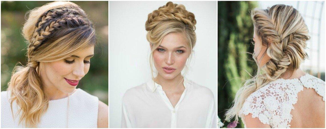 Penteados de noiva com trança maravilhosos: super tendência!