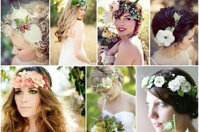 Coroas de flores para noivas: um toque bohemian chic e muito romântico