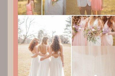 Collage de inspiración para decorar tu boda con telas delicadas en colores cálidos