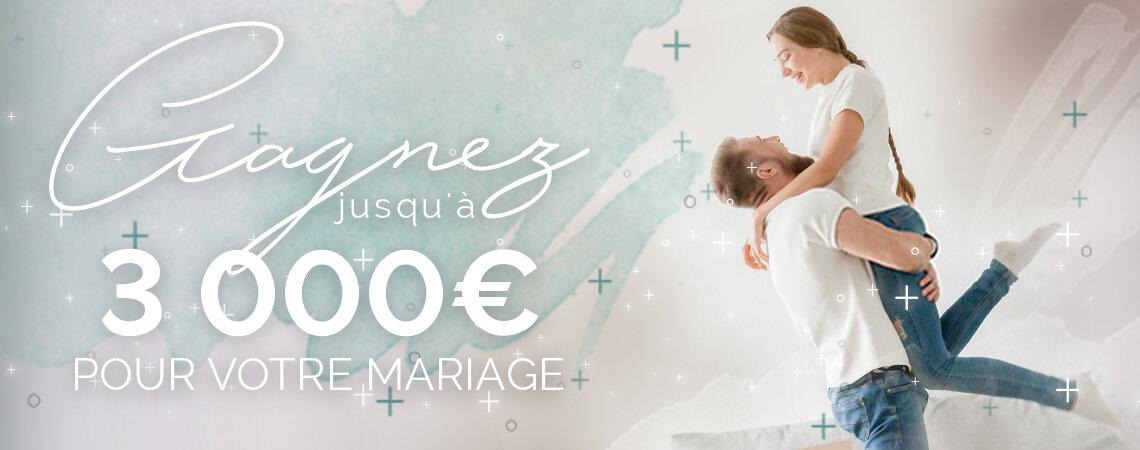 Participez et gagnez jusqu'à 3000 € pour votre mariage avec notre tirage au sort! Nous vous aidons à célébrer le plus beau jour de votre vie...