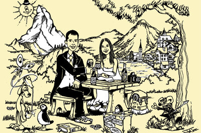 Einzigartige Hochzeitseinladungen mit einer Illustration des Brautpaares - Kunst für die Hochzeit!