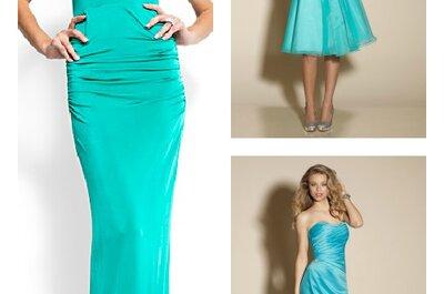 Robes et accessoires de couleur turquoise, aqua et vert menthe