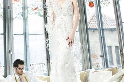Una selezione di abiti da sposa con fiori