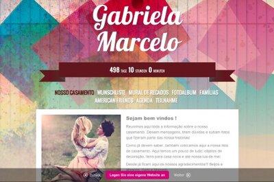 Dica para o site dos noivos: foto da página inicial e texto de boas vindas