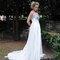 Robe de mariée fluide en soie dentelle argent