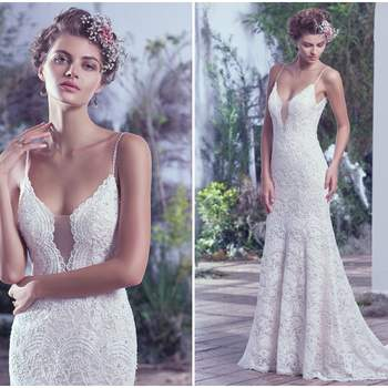 "This intricately woven allover embellished lace wedding dress is highlighted with delicate beaded spaghetti straps, a plunging illusion lace neckline, and a stunning open back. These features add subtle sexy touches to this ethereal sheath wedding gown. Finished with covered buttons over zipper closure.   <a href=""https://www.maggiesottero.com/maggie-sottero/mietra/9749"" target=""_blank"">Maggie Sottero</a>"
