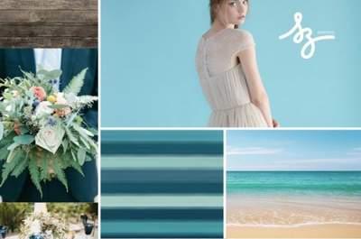 Collage de inspiración para decorar tu boda con el color azul turquesa