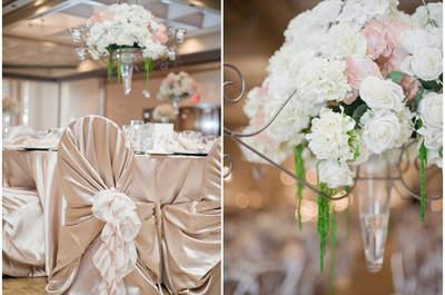Dorado, azul pálido y rosa: una paleta de color delicada para tu boda