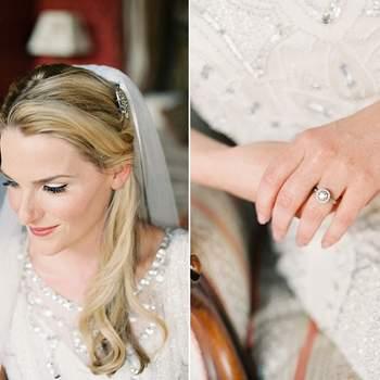 Detalle del vestido, el velo, su anillo de compra grande.