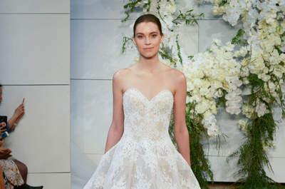 Luce un vestido de novia Monique Lhuillier 2018 y serás la más chic. ¡Descúbrelos!