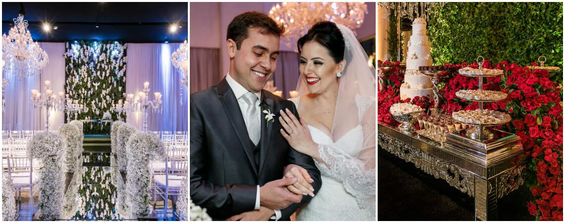 Casamento clássico em Curitiba de Bruna & Raphael: cerimônia só com flores brancas e festa em tons de vermelho