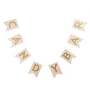 Banderines 'Candy Bar' rosa y dorado- Compra en The Wedding Shop