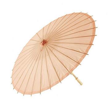 Sombrilla de bambú rosa melocotón- Compra en The Wedding Shop