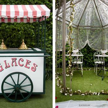 Otros dos ejemplos de lo que puedes hacer en tu boda si escoges los espacios exteriores. Foto: Belle Day. http://belleday.com/es/