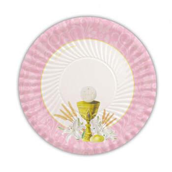 Platos de Comunión Clásicos Rosa 10 unidades- Compra en The Wedding Shop
