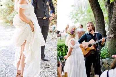 Decoración de boda con tendencia bohemia