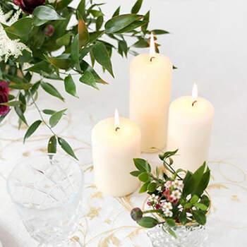 Candela decorativa marfil pequeña 6 pz- Compra en The Wedding Shop
