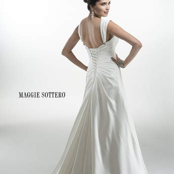 "Lavish Romance satin A-line gown with sweetheart neckline and brilliant Swarovski crystal embellishment at the hip. Finished with attached cap-sleeves and corset back closure.  <a href=""http://www.maggiesottero.com/dress.aspx?style=4MS024"" target=""_blank"">Maggie Sottero Platinum 2015</a>"