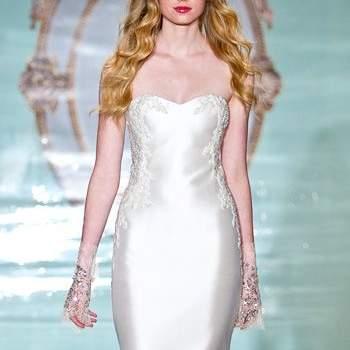 Свадебное платье без корсета, из атласной ткани от Reem Acra 2015.