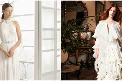 ¡Vuelven los vestidos y faldas plisadas para novias! La última tendencia en moda nupcial