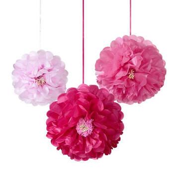 Flores de papel fucsia 3 unidades- Compra en The Wedding Shop